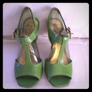 Franco Sarto lime green patent leather wedge